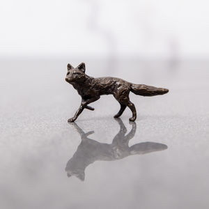 Miniature Bronze Fox Statue - sculptures