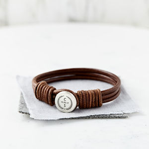 Personalised Crest Silver And Leather Bracelet - bracelets