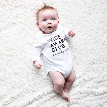 'Wide Awake' Long Sleeve Babygrow