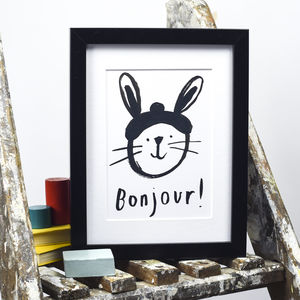 'Bonjour' Rabbit Print - animals & wildlife