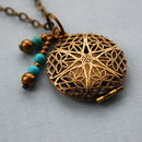 Antique Brass Filigree Locket With Turquoise Stones