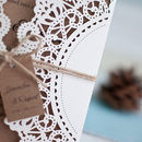 Scalloped Edge Laser Cut Gate Fold Wedding Invitation