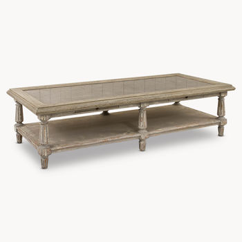 Woodcroft Colonial Grey Oak And Stone Top Coffee Table
