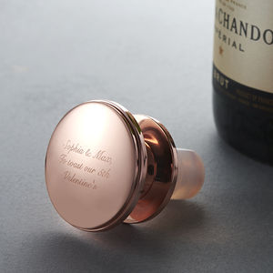 Personalised Rose Gold Wine Bottle Stopper - valentine's gifts for her