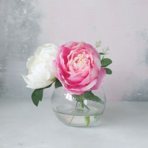 Pink And Cream Peony Bouquet In Fish Bowl Vase - room decorations