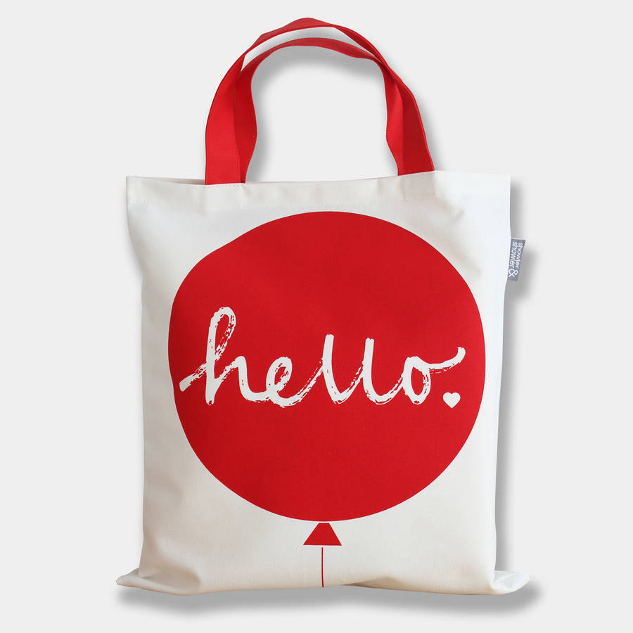 Hello Balloon Tote Bag Red
