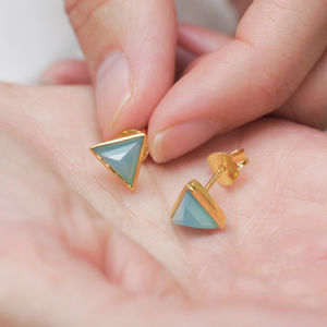Triangle Gemstone Stud Earrings - earrings