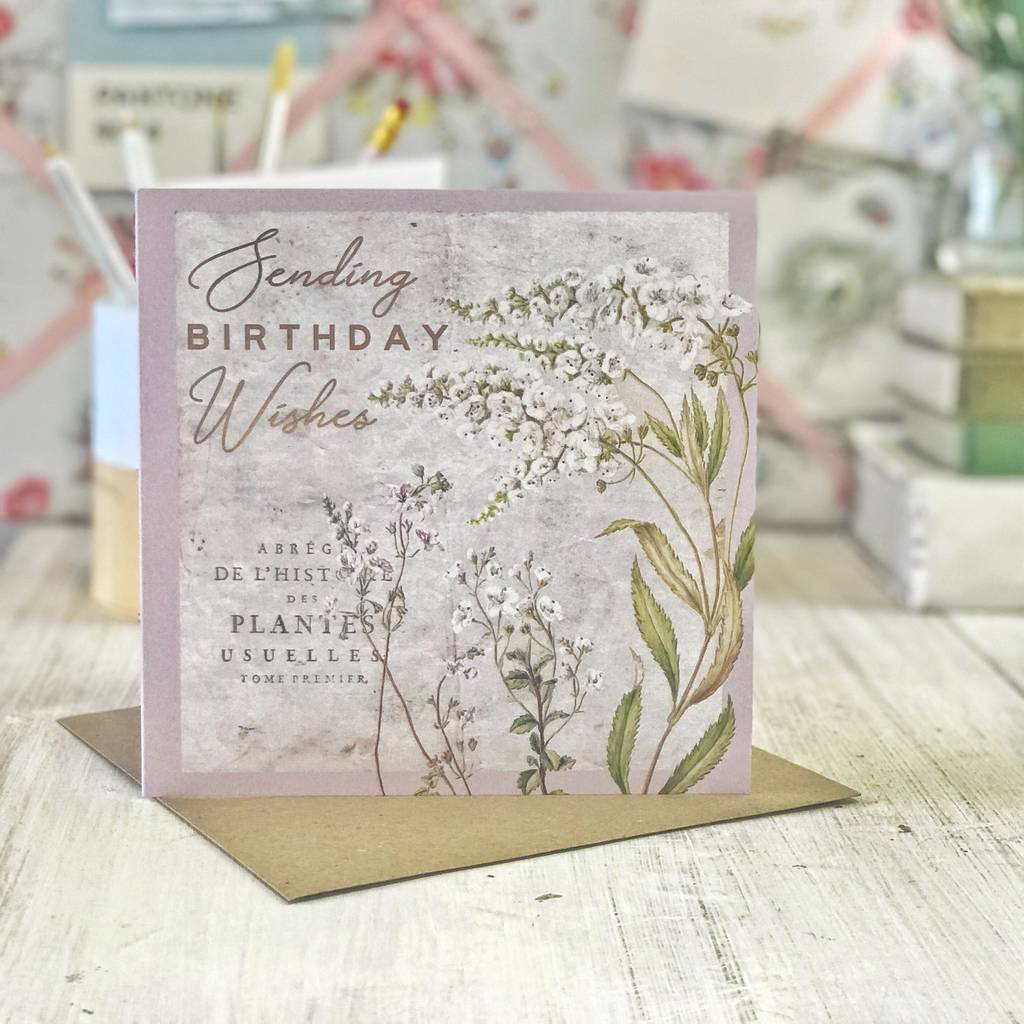 Birthday Wishes Vintage Botanical Gold Greeting Card By