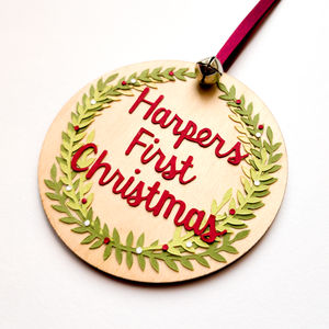 'First Christmas' Personalised Tree Pendant - christmas decorations