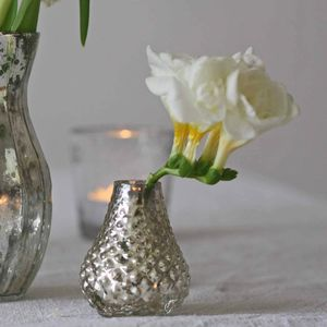 Tiny Silver Bud Vases Set Of Five - living room