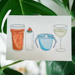 Beer, Bottle, Beaker And Wine New Baby Card - new baby cards