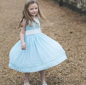 Girl's Colour Flower Girl Party Dress With Sash