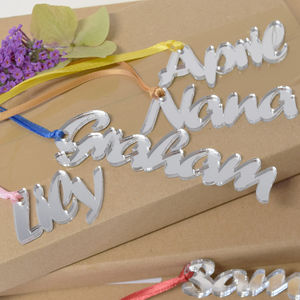 Personalised Mirrored Perspex Name Gift Tags - cards & wrap