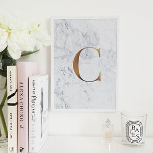 Personalised Monogram Marble Initial Foil Print - marble gifts