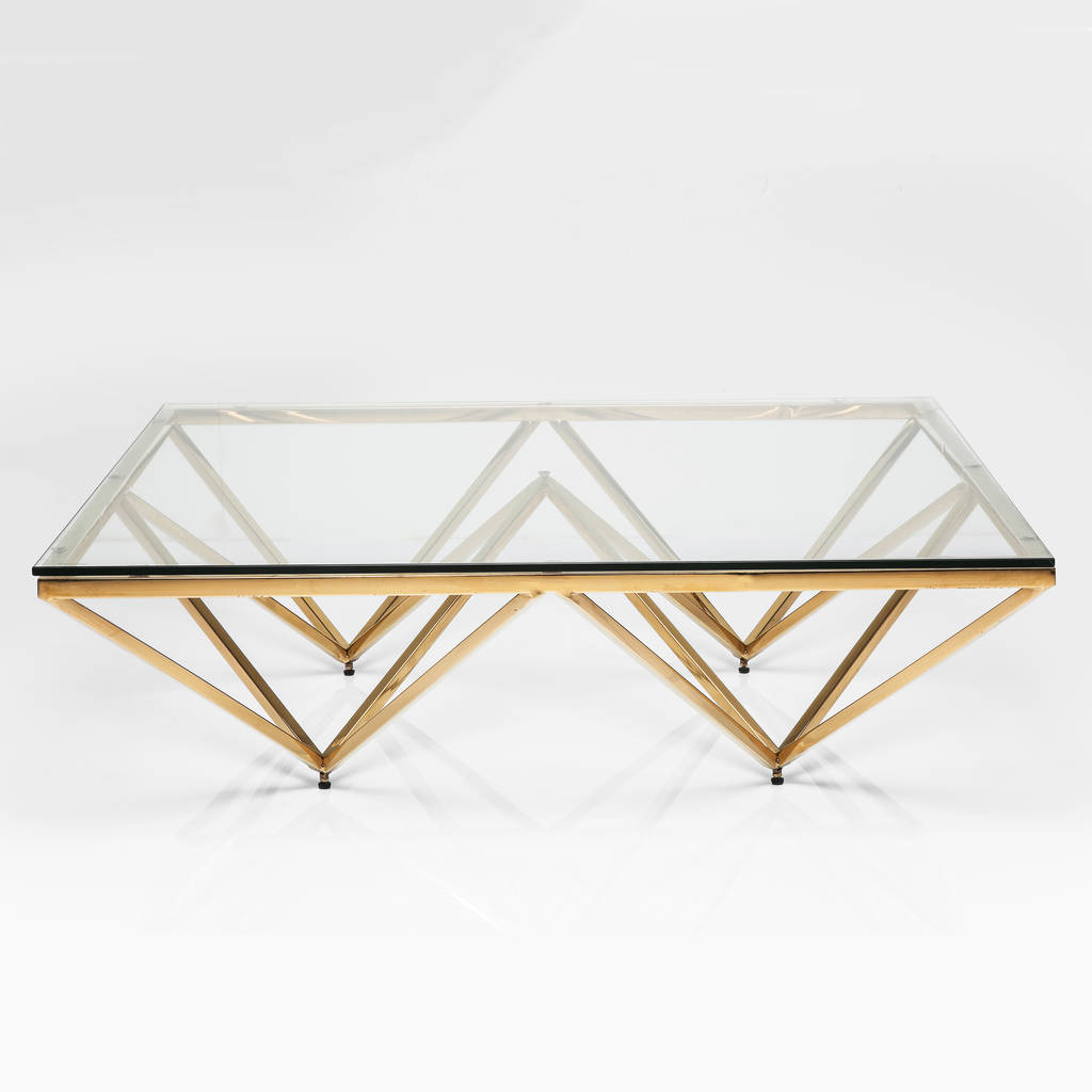 Merveilleux Art Deco Brass Square Glass Coffee Table