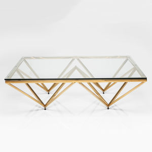 Art Deco Brass Square Glass Coffee Table - furniture