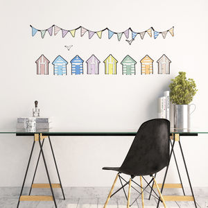 Beach Huts Wall Stickers - office & study