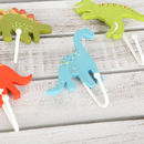 Light blue diplodocus and light green T-Rex