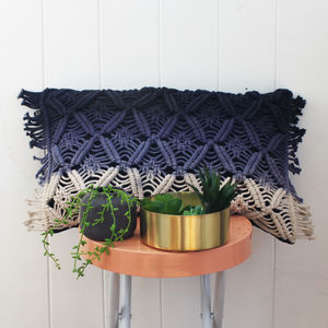 Blue Ombré Macramé Cushion