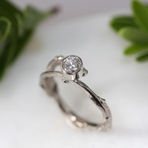18ct White Gold Diamond Solitaire Twig Engagement Ring - engagement rings