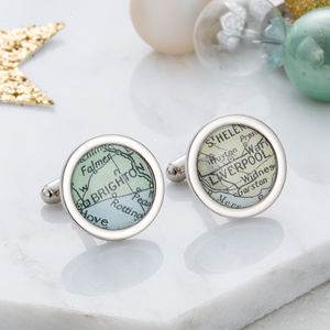 Personalised Map Cufflinks - special work anniversary gifts