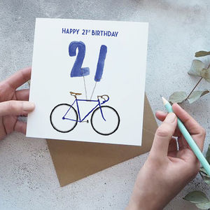 21st Birthday Bike With Balloons Card - 21st birthday cards