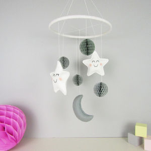 Star And Moon Mobile With Honeycomb Pom Poms - dreamland nursery