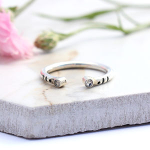 Bea, Double Moonstone Sterling Silver Stacking Ring
