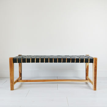 Natural Abby Woven Leather Bench