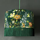 Flora X Fauna Flora Velvet Lampshades In Forest Green