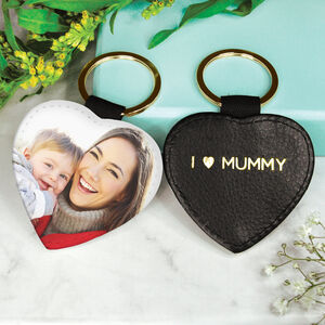 Personalised Mum Photo Heart Keyring