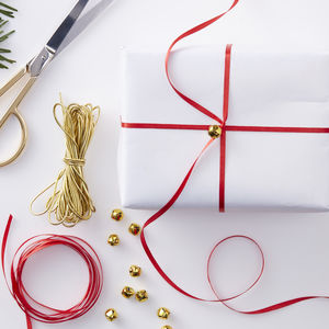 Festive Wrap Kit Including Bells Red And Gold - ribbon & bows