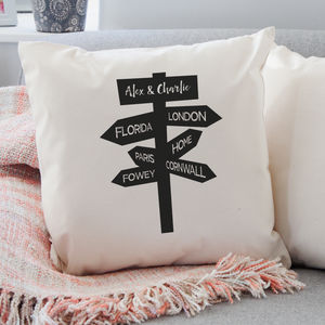 Personalised Travel Signpost Cushion - bedroom