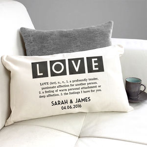 Personalised Vintage Style Definition Of 'Love' Cushion - personalised cushions