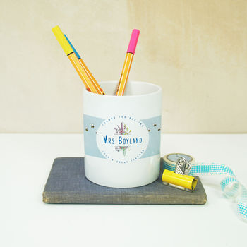 Personalised 'Wallpaper' Teacher's Gift Pencil Pot