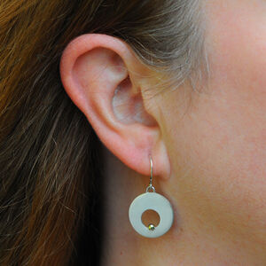 Silver Disc With Gold Ball Detail Hook Earrings