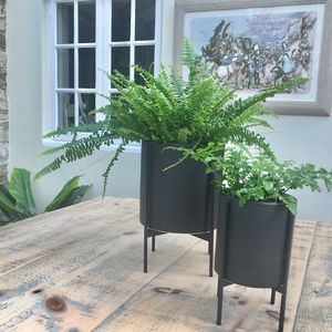 Black Ceramic Belena Planter On Stand