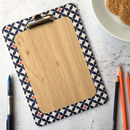Safiya Clipboard, Blue And Orange Geometric Pattern