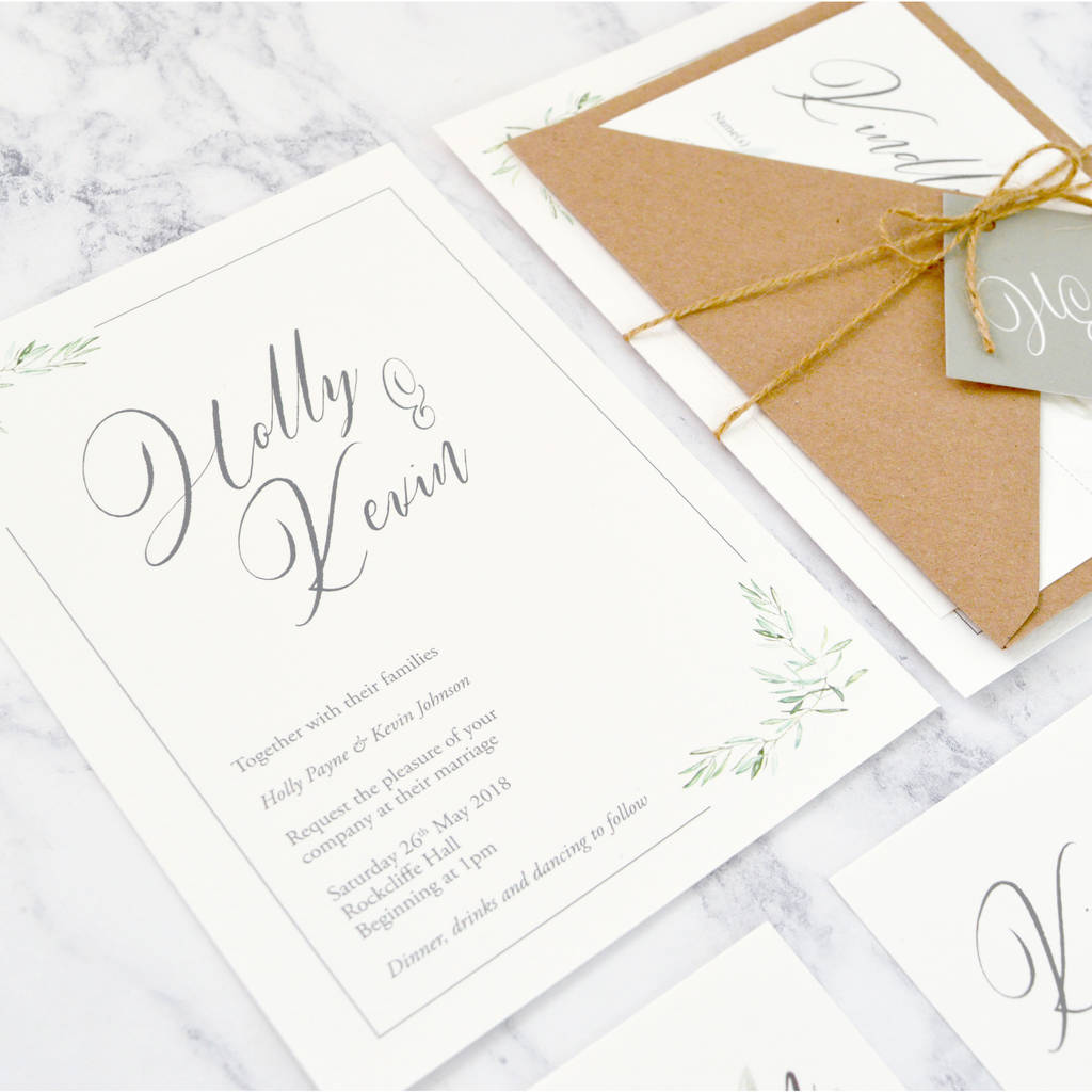 olive leaves wedding invitation by amanda michelle design