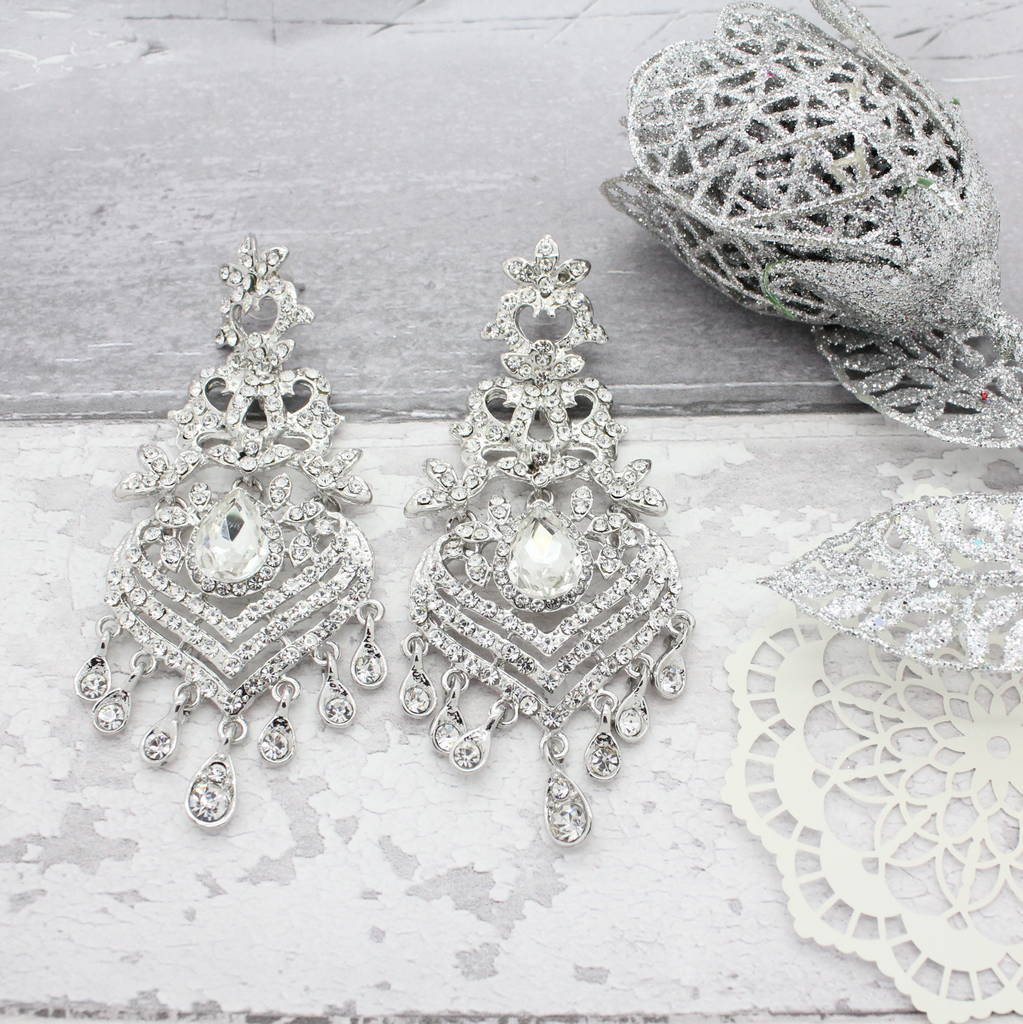 Diamante Silver Chandelier Earrings