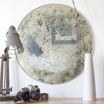 Heavy Bronzed Antiqued Round Mirror
