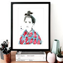 Top Knot Fashion Illustration Sketch Print