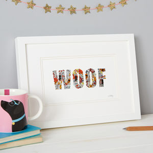 'Woof' Dog Sticker Typography Framed Artwork - posters & prints