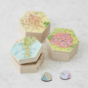 Personalised Map Location Hexagon Jewellery Box - cufflink boxes & coin trays