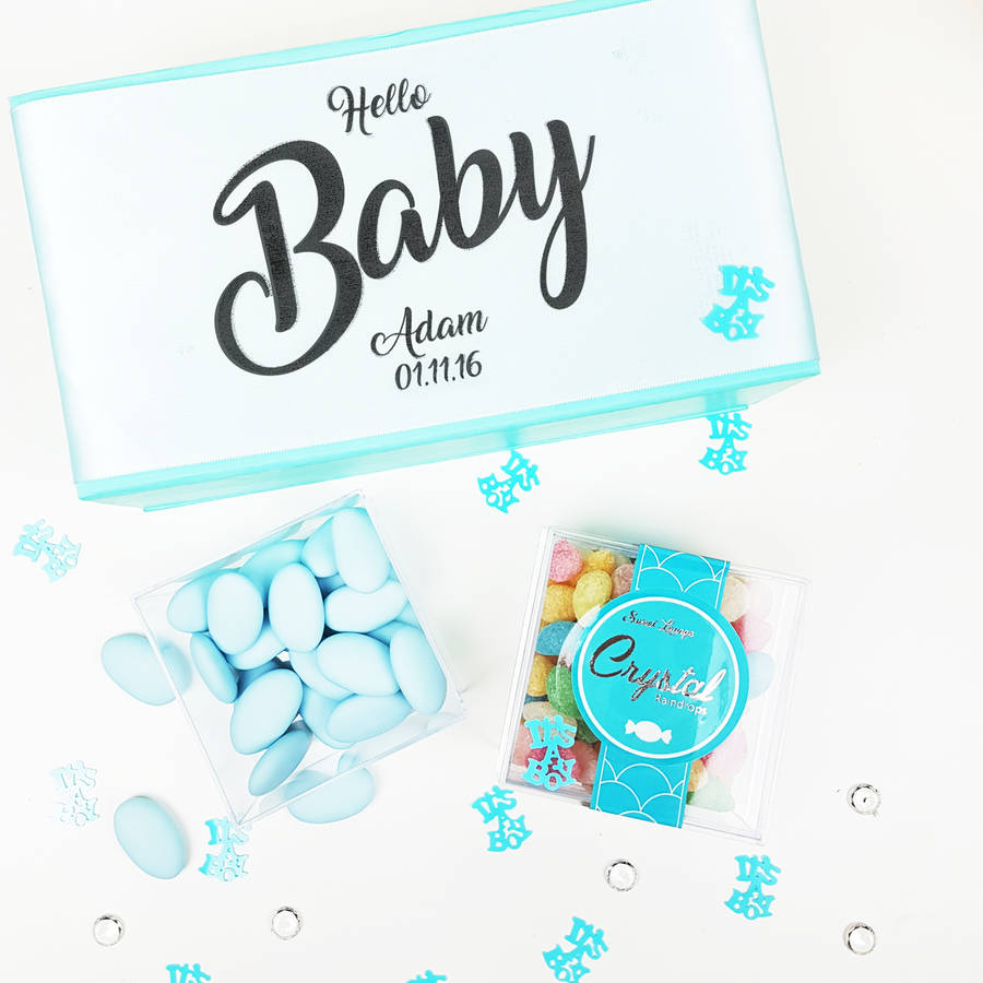 Personalised baby boy baby shower sweets gift box by sweet personalised baby boy baby shower sweets gift box negle Image collections