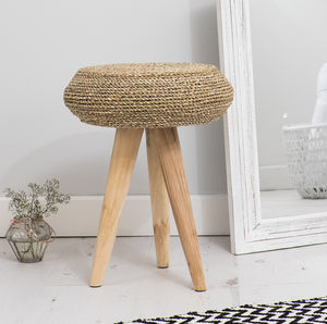 Round Wicker And Wood Stool