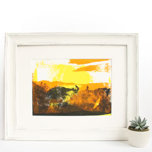 Golden Hour Original Screen Print Mountain Biking Art
