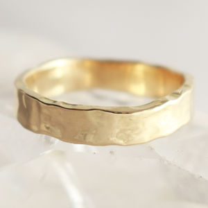Welsh Gold And Ecogold Glacial Texture 5mm Wedding Ring - rings