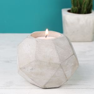Concrete Geometric Candle Holder - table decorations