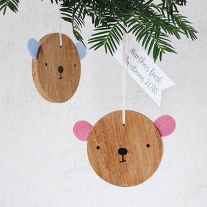 Personalised Baby's First Christmas Bear Decoration - baby's first christmas
